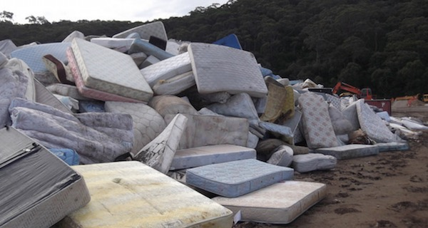 Mattresses piled up at local landfill in San Rafael, CA